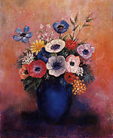 Bouquet of Flowers in a Blue Vase, redon
