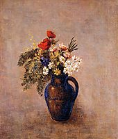 Bouquet of Flowers in a Blue Vase, c.1907, redon