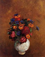 Bouquet of Flowers in a White Vase, redon