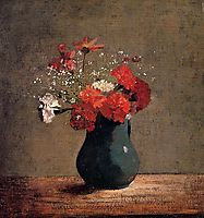 Carnations and baby-s breath in a green pitcher, redon