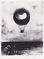 The eye like a strange balloon goes to infinity, 1882, redon