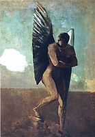 Fallen Angel Looking at at Cloud, c.1875, redon