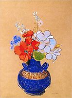 Flowers in a Blue Vase, redon