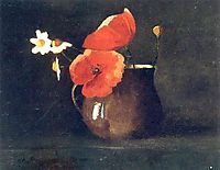 Flowers in green vase, c.1868, redon