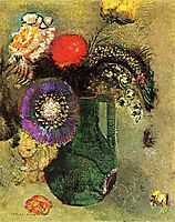 Flowers in Green Vase with Handles, c.1905, redon