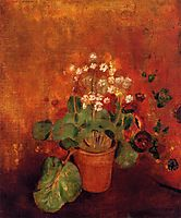 Flowers in a Pot on a Red Background, redon
