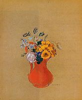 Flowers in a Red Pitcher, c.1900, redon