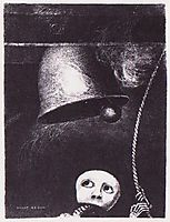 A funeral mask tolls bell , 1882, redon