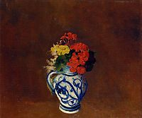 Geraniums and other Flowers in a Stoneware Vase , redon