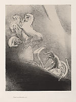 He falls, head-first, into the abyss (plate 17), 1896, redon