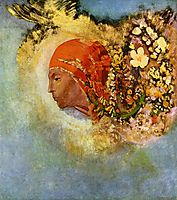 Head with Flowers, c.1907, redon