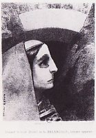 Lenor appears in front of the black sun of melancholy, 1882, redon