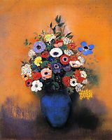 Minosas, Anemonies and Leaves in a Blue Vase, c.1915, redon