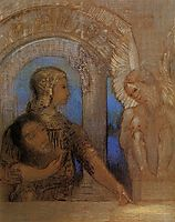 The Mystical Knight (Oedipus and the Sphinx), 1869, redon