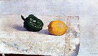 Pepper and Lemon on a White Tablecloth, 1901, redon
