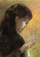 Portrait of Madame Redon Embroidering, 1880, redon