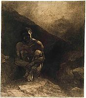 Primitive Man Seated in Shadow, redon