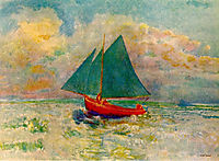Red Boat with Blue Sails, c.1907, redon