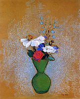 Rose, Peony and Cornflowers in a Green Vase, redon