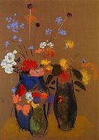 Three Vases of Flowers, c.1909, redon