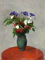Vase of Flowers on a Red Tablecloth, c.1900, redon