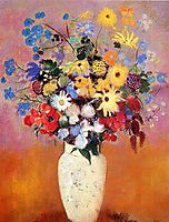 White Vase with Flowers, 1916, redon