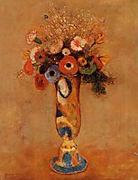 Wildflowers in a Long Necked Vase, c.1912, redon