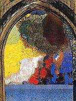 Woman In Profile Under A Gothic Arch, redon