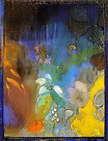 Woman in Profile with Flowers, redon