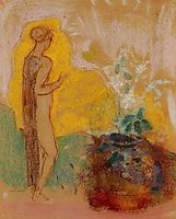 Woman and Stone Pot Full of Flowers, redon