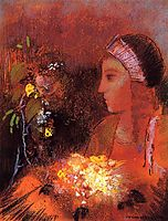 Woman with Flowers, redon