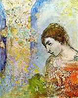 Woman with Pillar of Flowers, redon