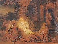 Abraham Receives the Three Angels, 1646, rembrandt