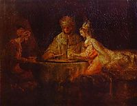 Ahasuerus (Xerxes), Haman and Esther, rembrandt