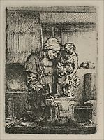 An Artist Drawing from the Model, 1648, rembrandt