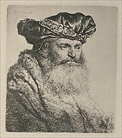 An Old Man, Wearing a Rich Velvet Cap, 1637, rembrandt