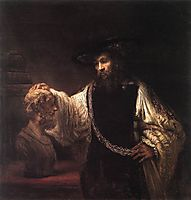 Aristotle with a Bust of Homer, 1653, rembrandt