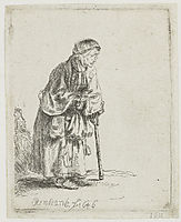 Beggar woman leaning on a stick, 1646, rembrandt