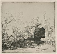 The Boathouse called a Grotto with a Brook, 1645, rembrandt
