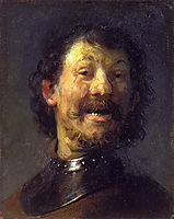 Bust of a Laughing Man in a Gorget, 1630, rembrandt