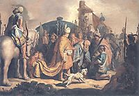 David Offering the Head of Goliath to King Saul, 1627, rembrandt