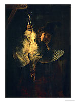 A Dead Bittern Held by a Hunter, 1639, rembrandt