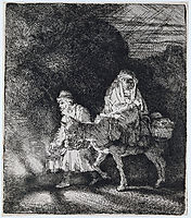 The flight into Egypt a night piece, 1651, rembrandt
