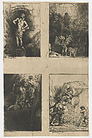 Four illustrations to a Spanish book, 1655, rembrandt