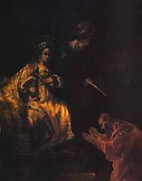 Haman Begging Esther for Mercy, rembrandt