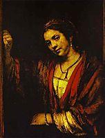 Hendrickje at an Open Doo, 1656, rembrandt