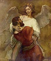 Jacob Wrestling with the Angel, c.1659, rembrandt