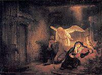 Joseph-s Dream in the Stable in Bethlehem, 1645, rembrandt