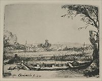 Landscape with a Canal and Large Boat, 1650, rembrandt