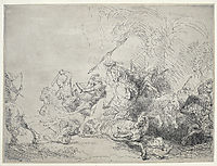 The large lion hunt, 1641, rembrandt